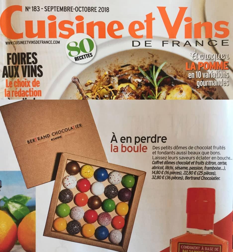 Bertrand Chocolatier apparaît dans Cuisine et Vins de France