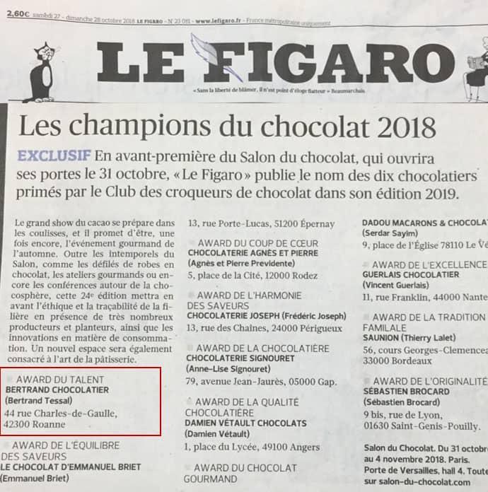 Bertrand Chocolatier est dans le Figaro