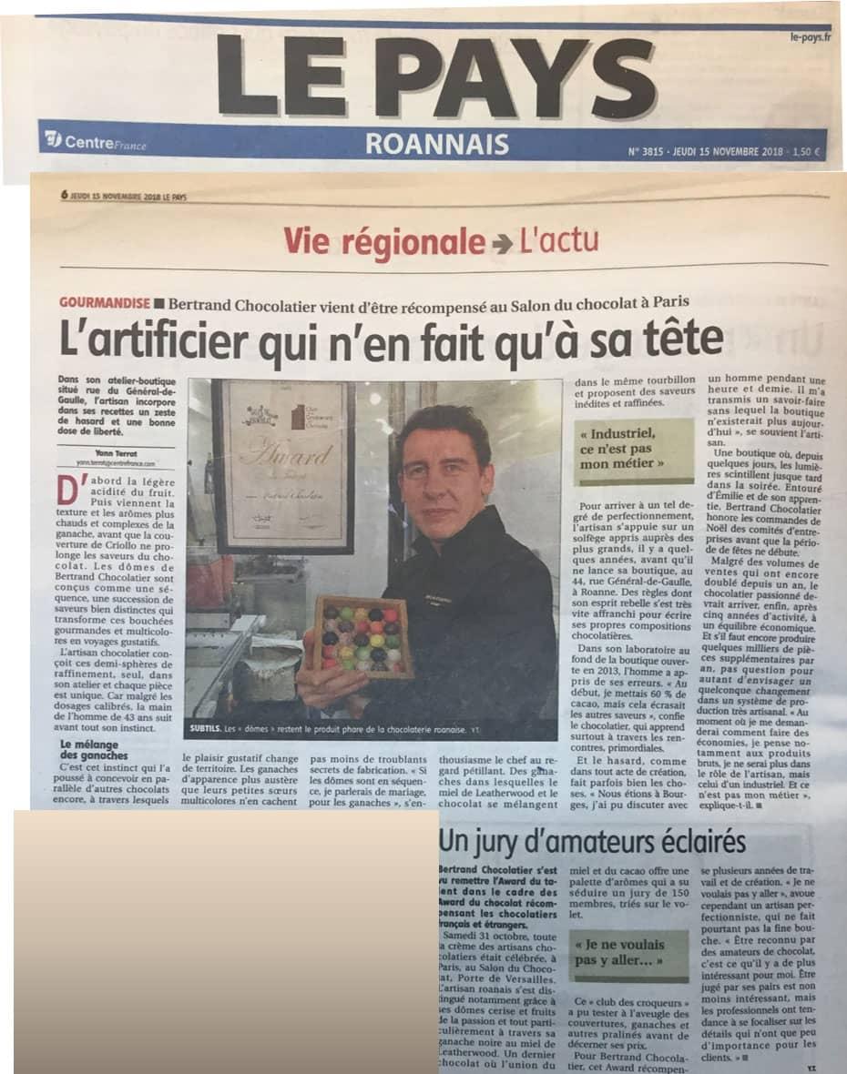 Bertrand Chocolatier possède son article dans le Pays