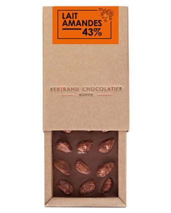 Tablette chocolat lait amandes - Bertrand Chocolatier