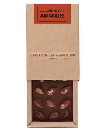 Tablette gourmande chocolat noir amandes