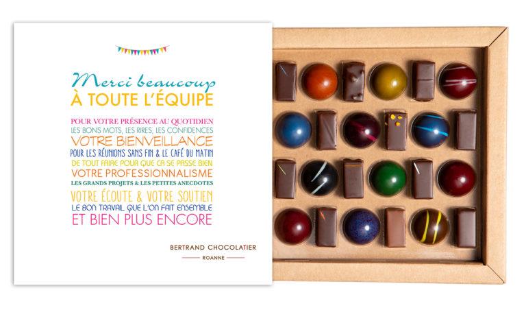 Coffret mixte 24 dômes et chocolats merci l'équipe