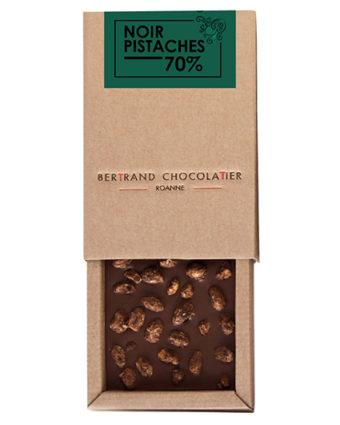 Tablette gourmande noir pistaches - Bertrand Chocolatier