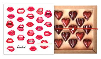 Coffret 13 coeurs baisers avec son bracelet Loupidou rouge