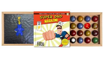 Coffret 16 dômes Super Dad Magazine et son bijou de porte-clefs Loupidou