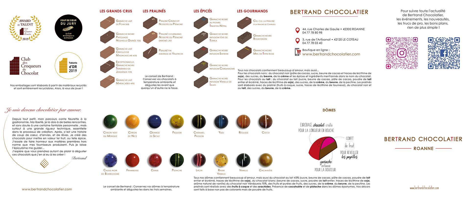 Nos dômes et chocolats   Bertrand Chocolatier